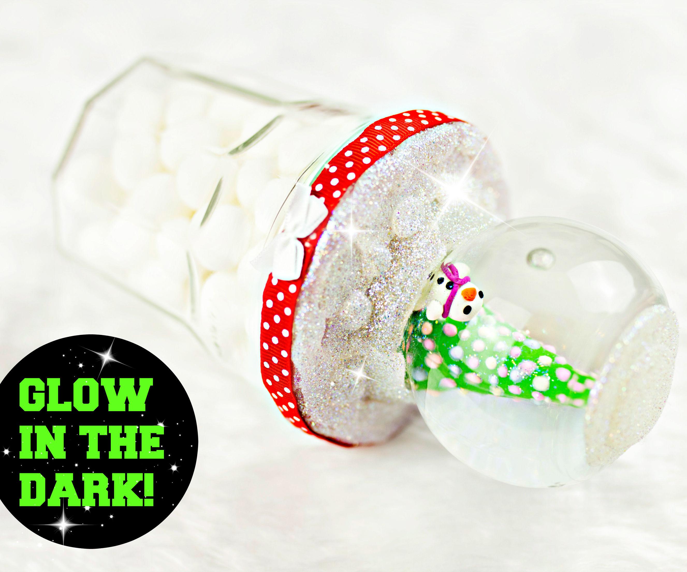 DIY Snow Globe Jar - Glow in the dark!