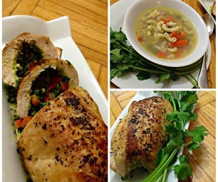 Spinach, Bell Pepper Stuffed Chicken & Chicken Macaroni Soup