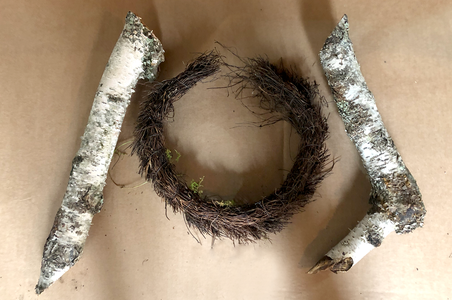 Cut Birch Branches for Arms and an Old Wreath for Belt.