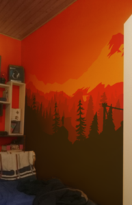 How to Paint an Orange Sunset Wall Mural Using Shadows