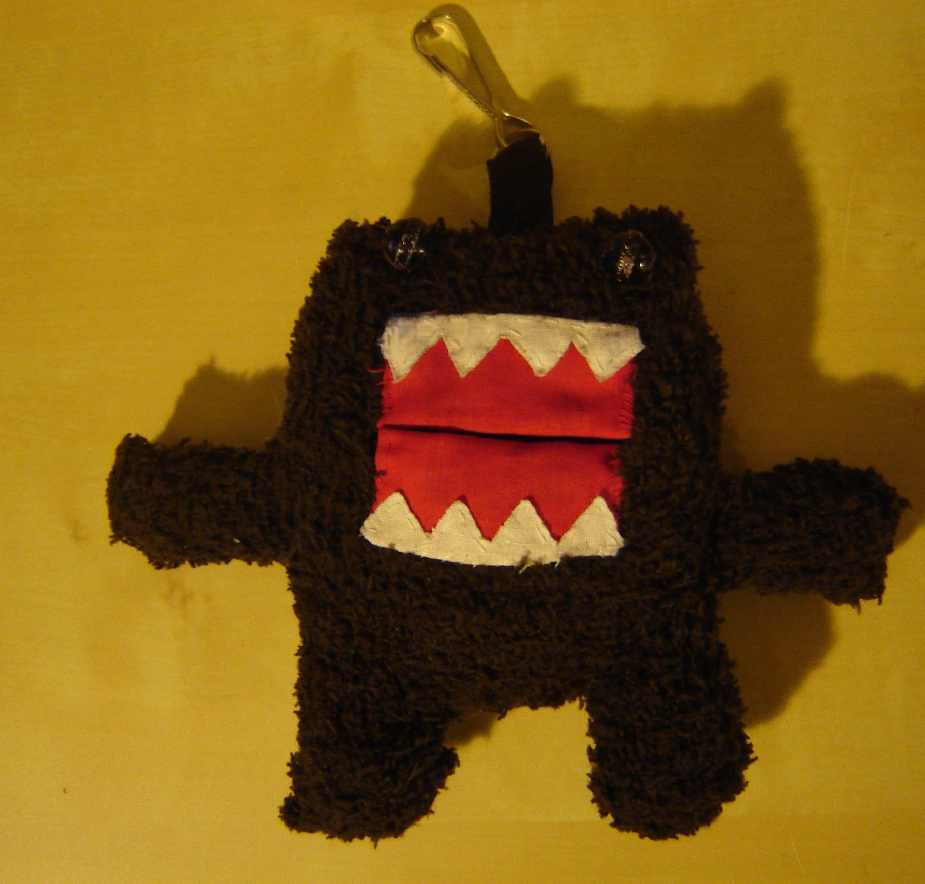 Domo Kun keychain and grocery bag holder