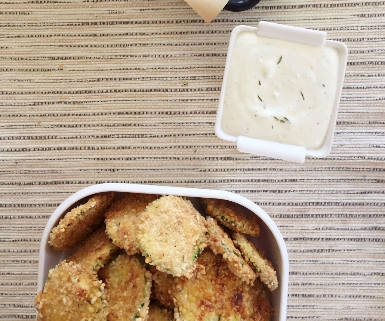 Zucchini parmesan chips with feta sauce (gluten free)