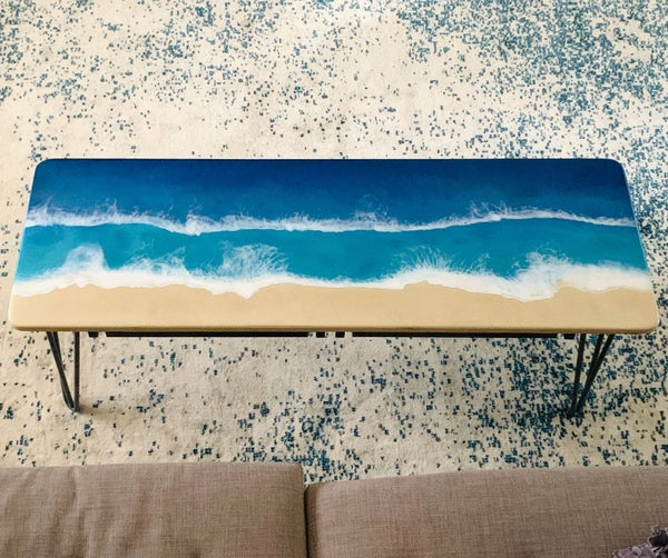 Epoxy Resin Ocean Coffee Table With Hidden Ikea Storage!