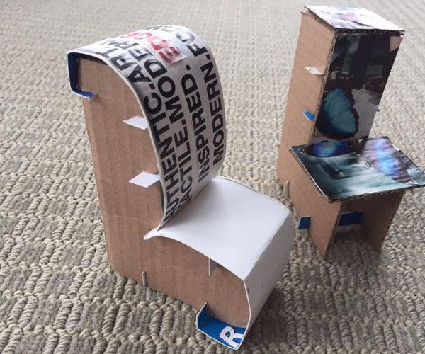Miniature Cardboard Chairs for a Dollhouse