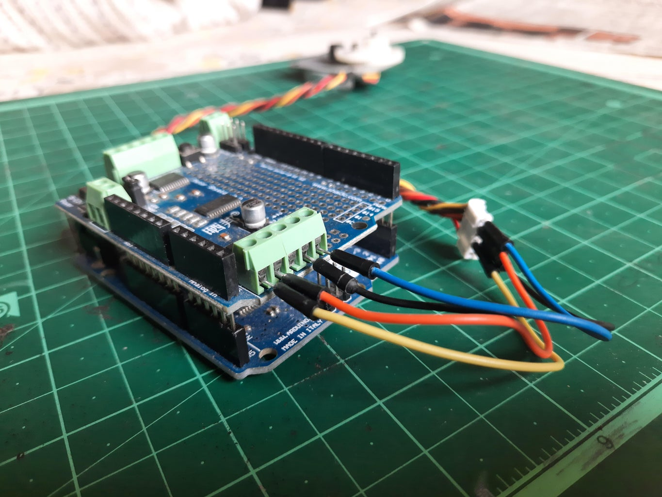 Connect the Stepper Motor to the Motor Shield