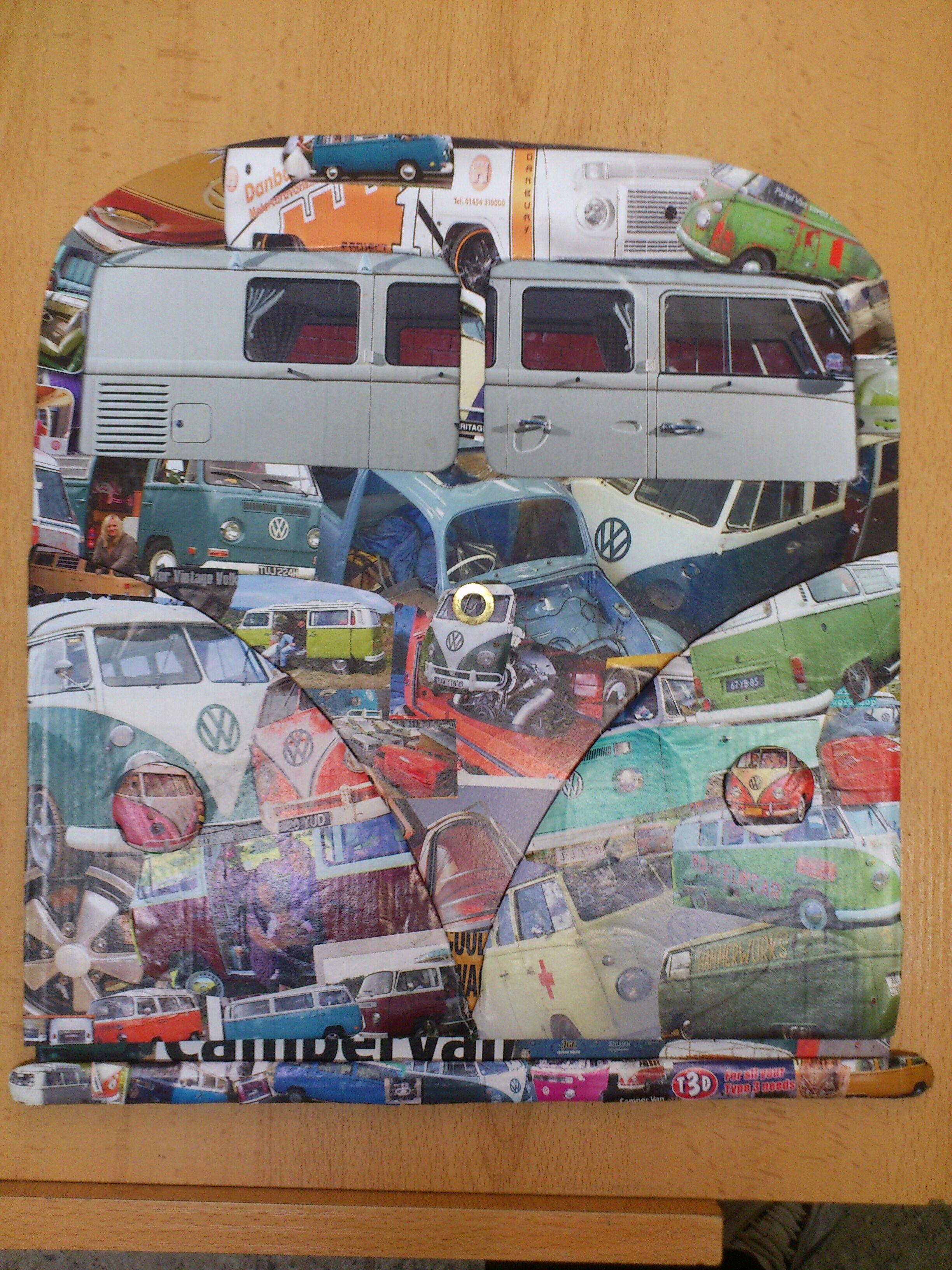 vw camper decoupage custom bulli van bus aircooled clock picture frame.