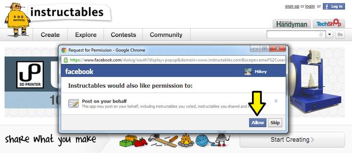 Log in Using Facebook