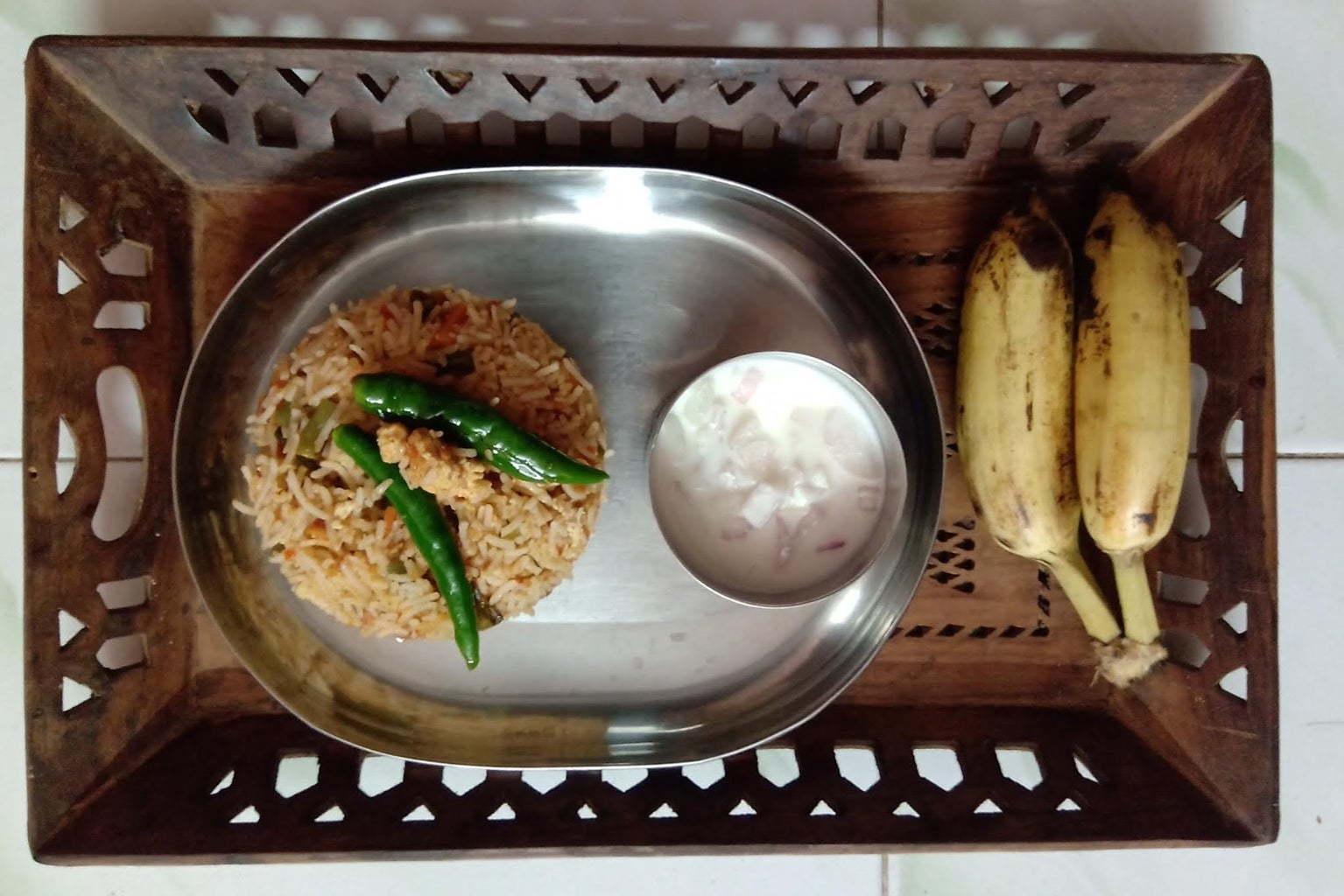 Now, Fried Rice Is Ready; Serve With Chopped Onions, Salt and Curd Mixture.