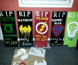 Super Hero Graveyard Tombstones