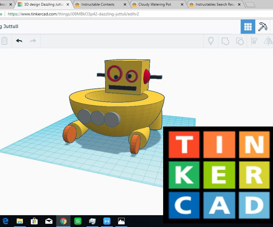 Tinkercad Instructable Robot Planter