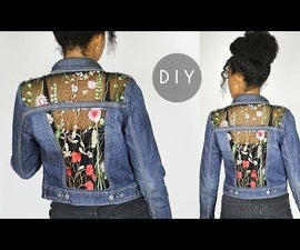 DIY Embroidered Sheer Cut Out Denim Jacket (NO SEWING)