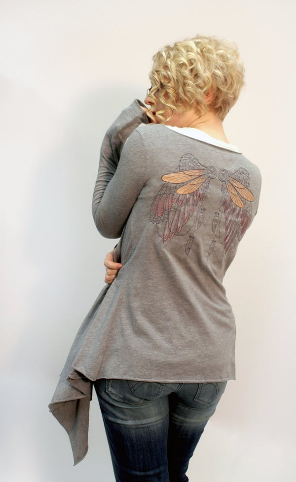 Easy Drape Cardigan From Two Shirts