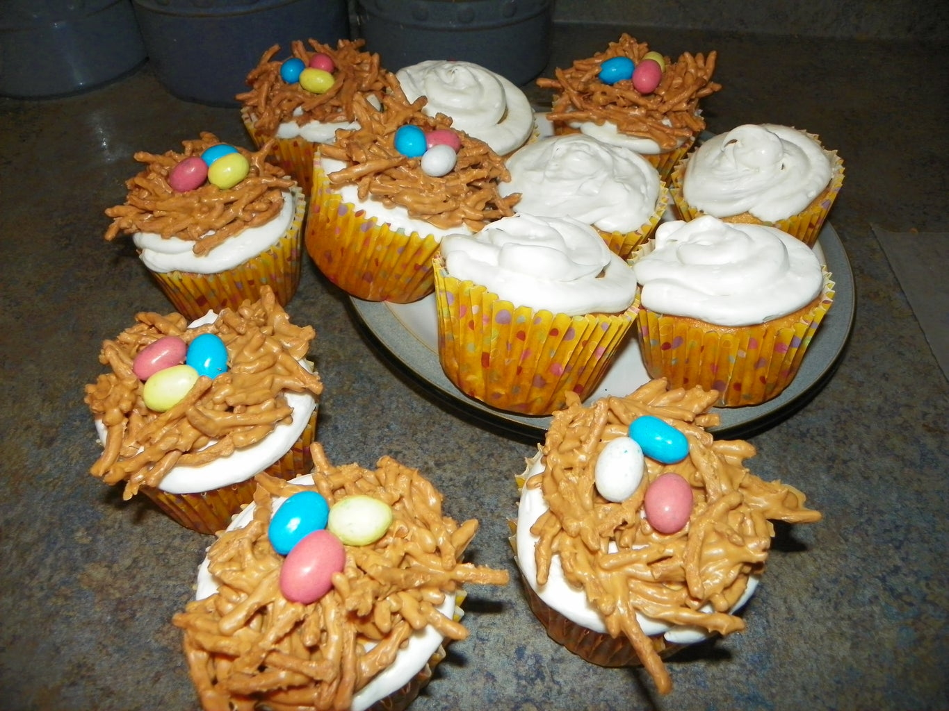 Place Bird Nests on Cupcakes