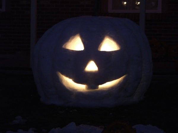 Carve a Giant White Snow Pumpkin for Halloween