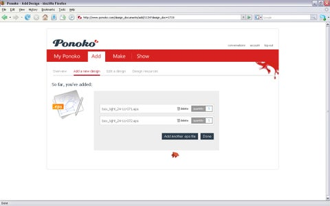 Uploading Into Ponoko and Ordering Parts