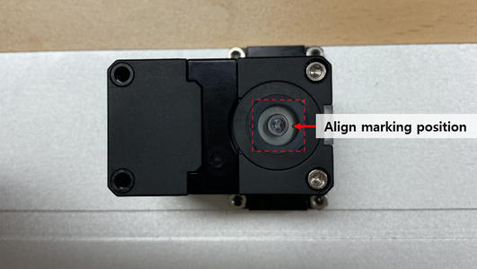 Install a Base Link to a Base Plate by 4 Bolts (WB_M2.5X08) and Nuts (NUT_M2.5), While Paying Attention to the Align Marking Position of the Dynamixel Horn.