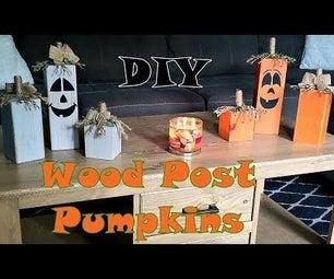 Rustic Wood Pumpkins From a 4x4 Post