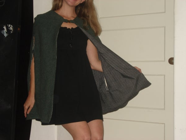 Reversible Cape Coat With Arm Holes