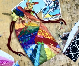 Rainbow Drawstring Tarot Deck / Stash Bag From Fabric Scraps