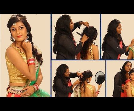 Simple Hairstyle For Indian Weddings To Do Yourself - Floral Curls Decorated - For Saree & Lehenga