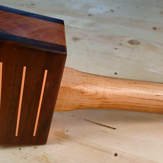Wooden Mallet With Brass Inlay