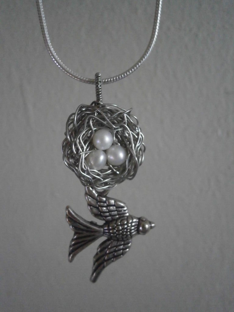 Birdsnest Pendant With Real Pearls