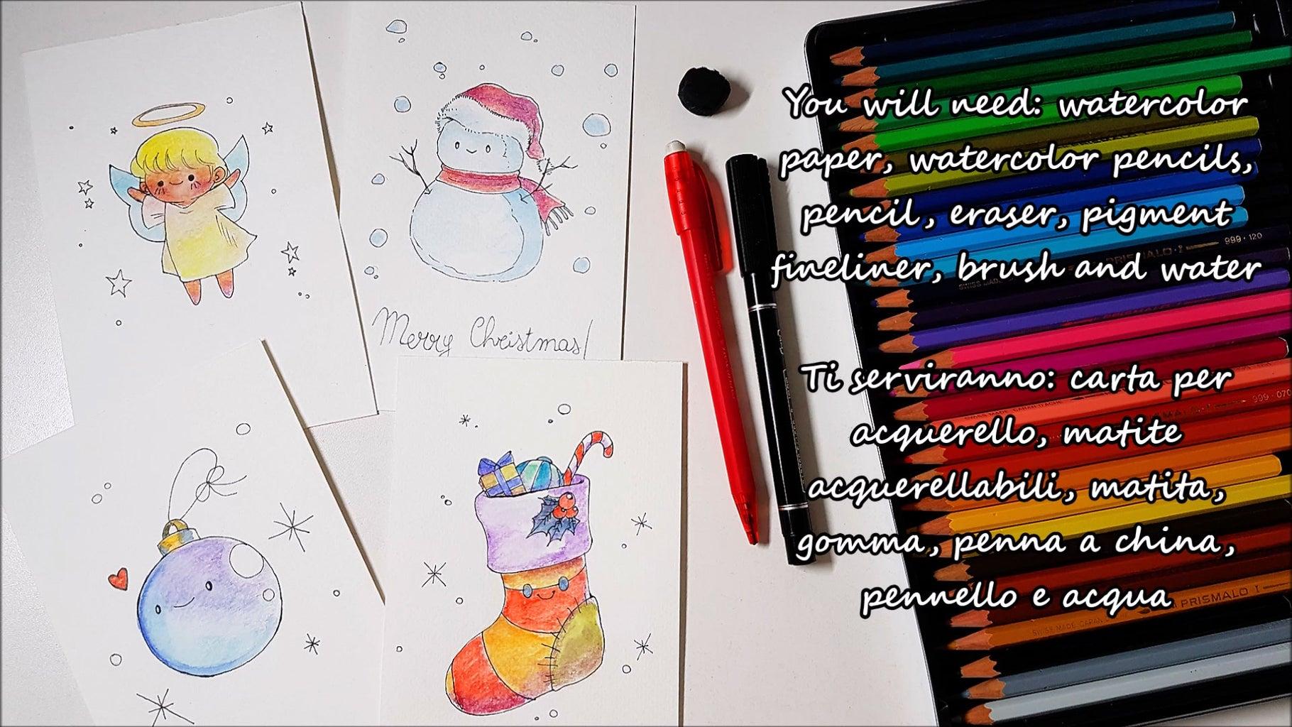 4 DIY CHRISTMAS CARDS WITH WATERCOLOR PENCILS   KAWAII DRAWINGS