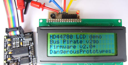 HD44780 LCD to I2C adapter board for the Bus Pirate