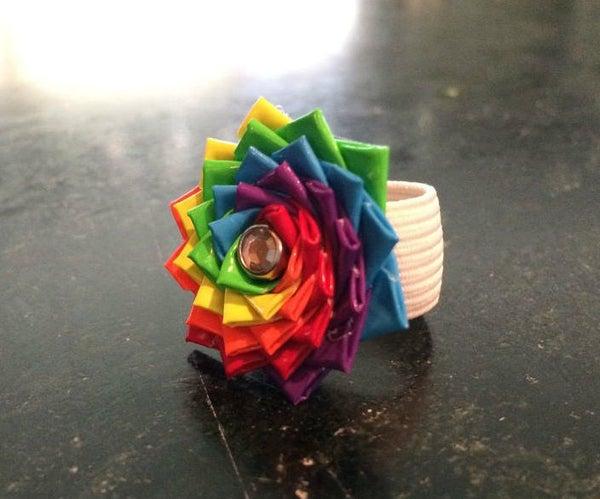 Duct Tape Rainbow Flower Ring