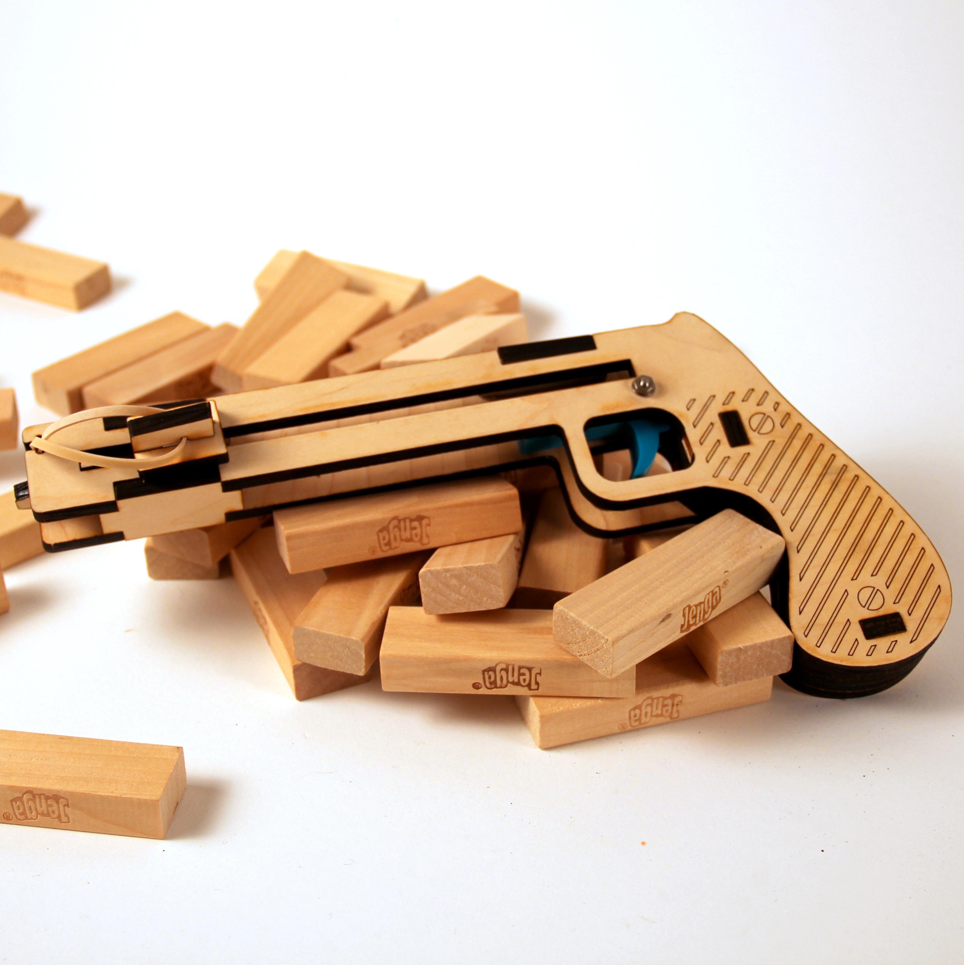 Wooden Laser Cut Jenga Pistol