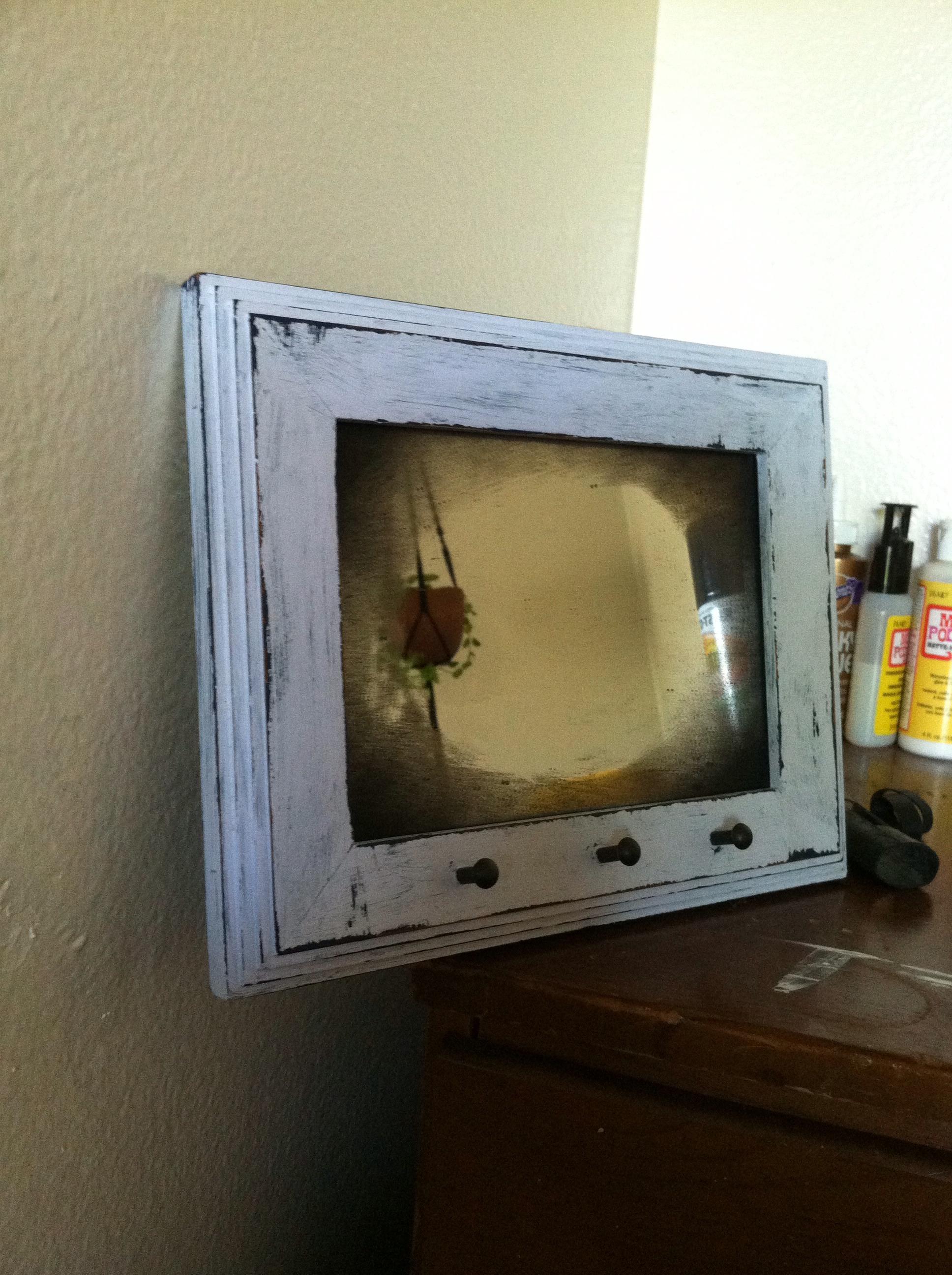 smoky entrance mirror w/ keyhooks
