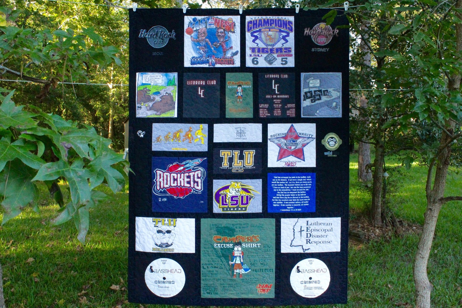 """Custom T-Shirt Quilt Top - Variable Style With 1.5"""" Sashing and 2"""" Border"""