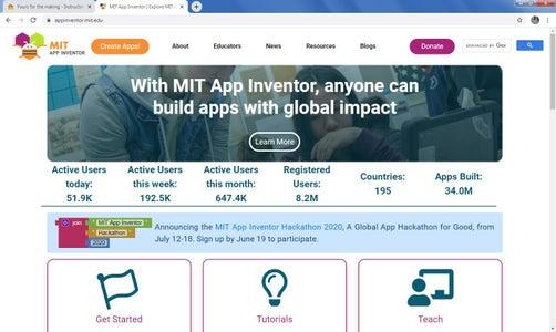 Start Create App in MIT App Inventor