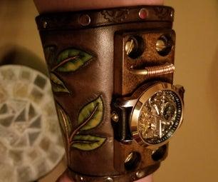 Hand Tooled Cowboy Cuff Steampunk Watch