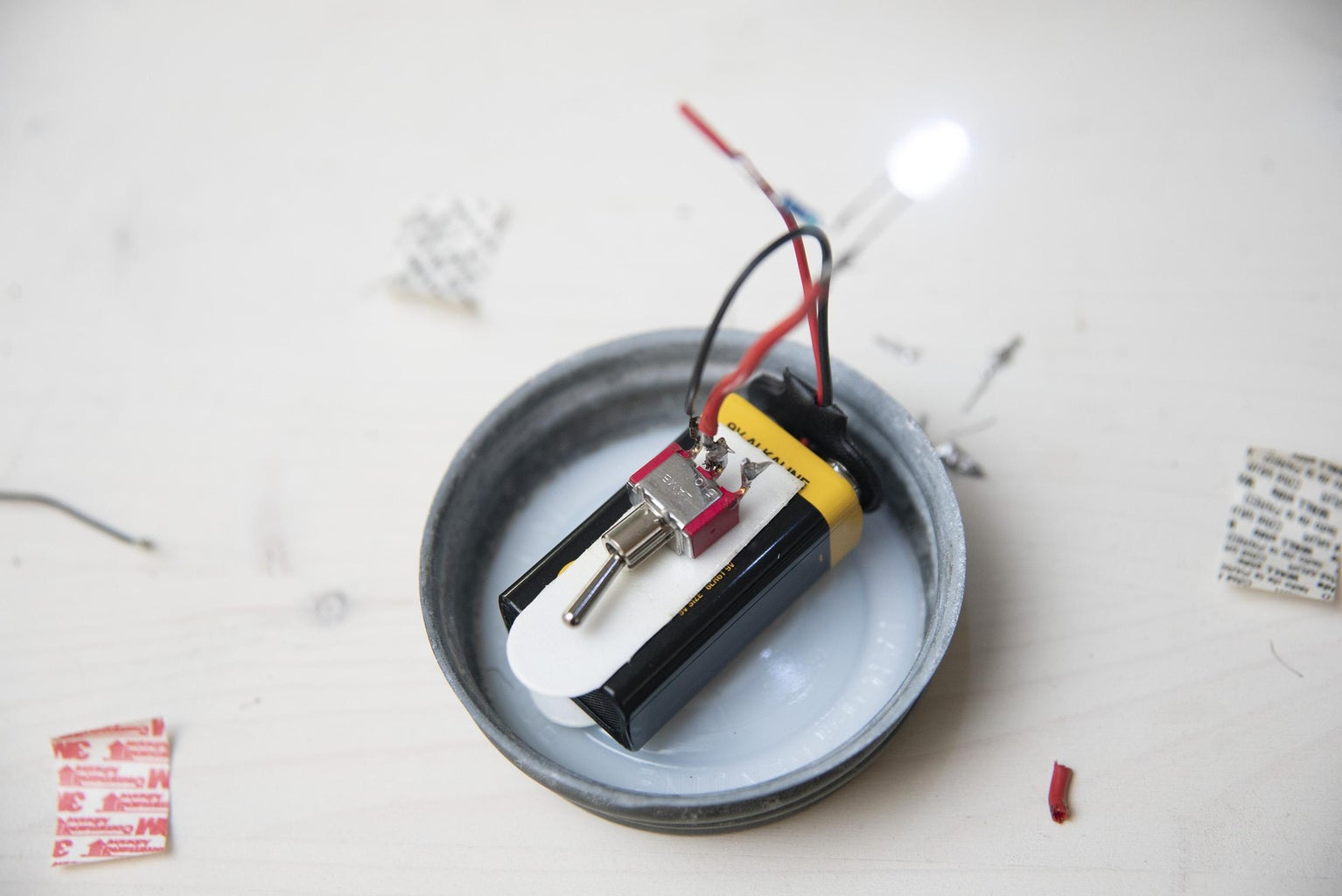 Solder Your Switch to LED and to Battery Connector