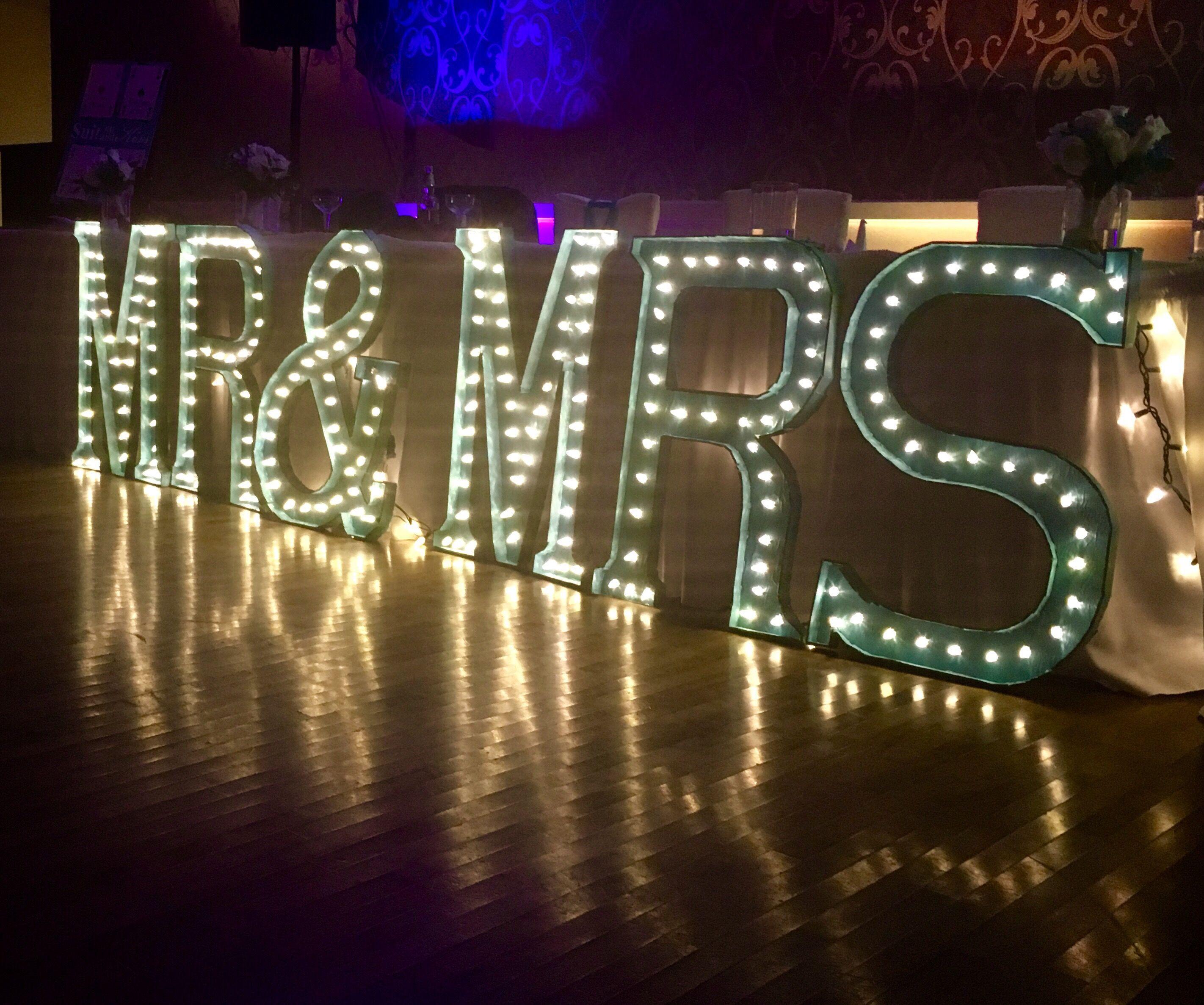 Giant MR & MRS Light-Up Letters for Wedding