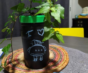 Transformation of a Gherkin Jar Into a Slate Flowerpot