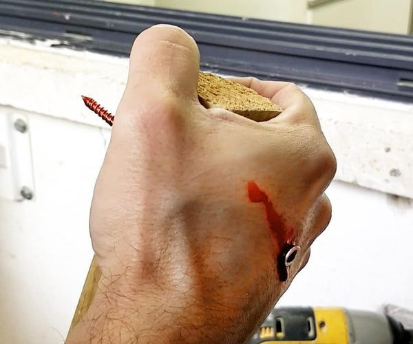 Halloween Faked Hand's Injury / Wound With Screw and Blood
