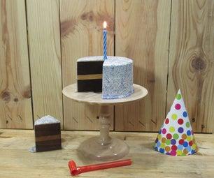 Wood and Resin Birthday Cake