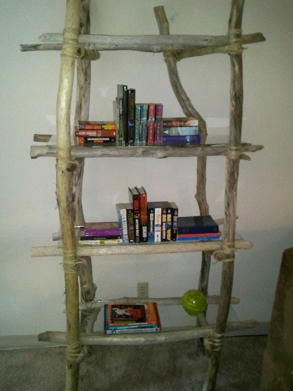 DIY Driftwood Bookshelf