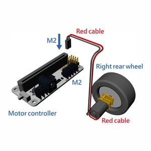右後輪のギアモーターをモーターコントローラー (M2) に接続しましょう