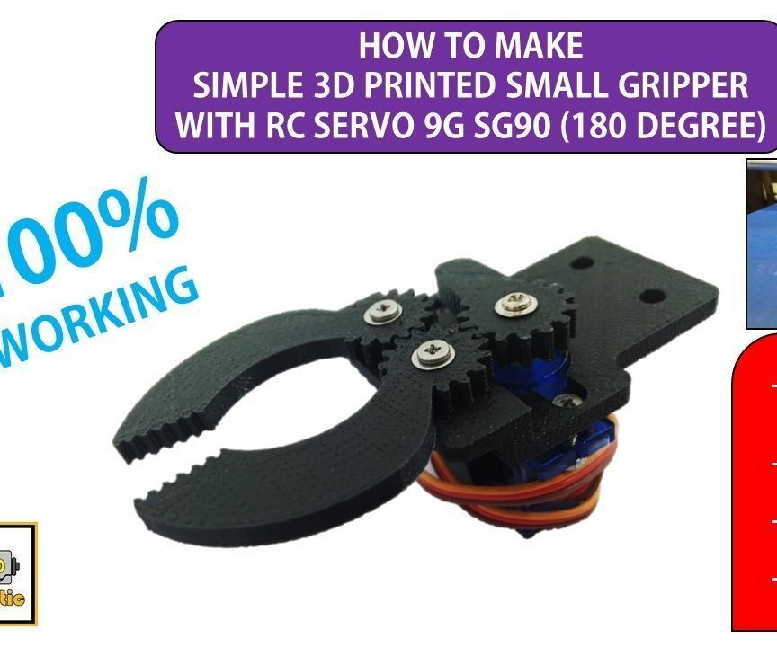 How to Make 3D Small Gripper With RC Servo 9G SG90