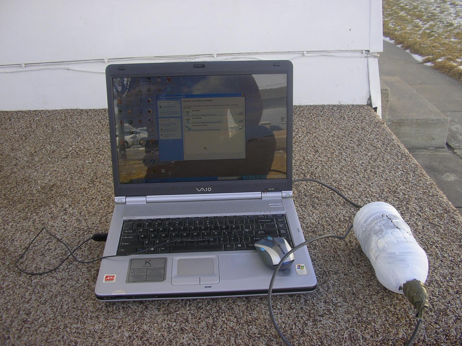 Weatherized Wireless Network Adapter using a water bottle
