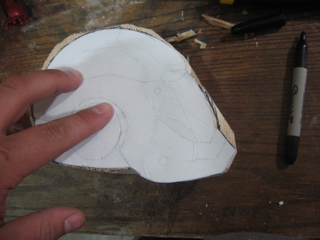 Continue Carving, Drawing in Details As a Guide
