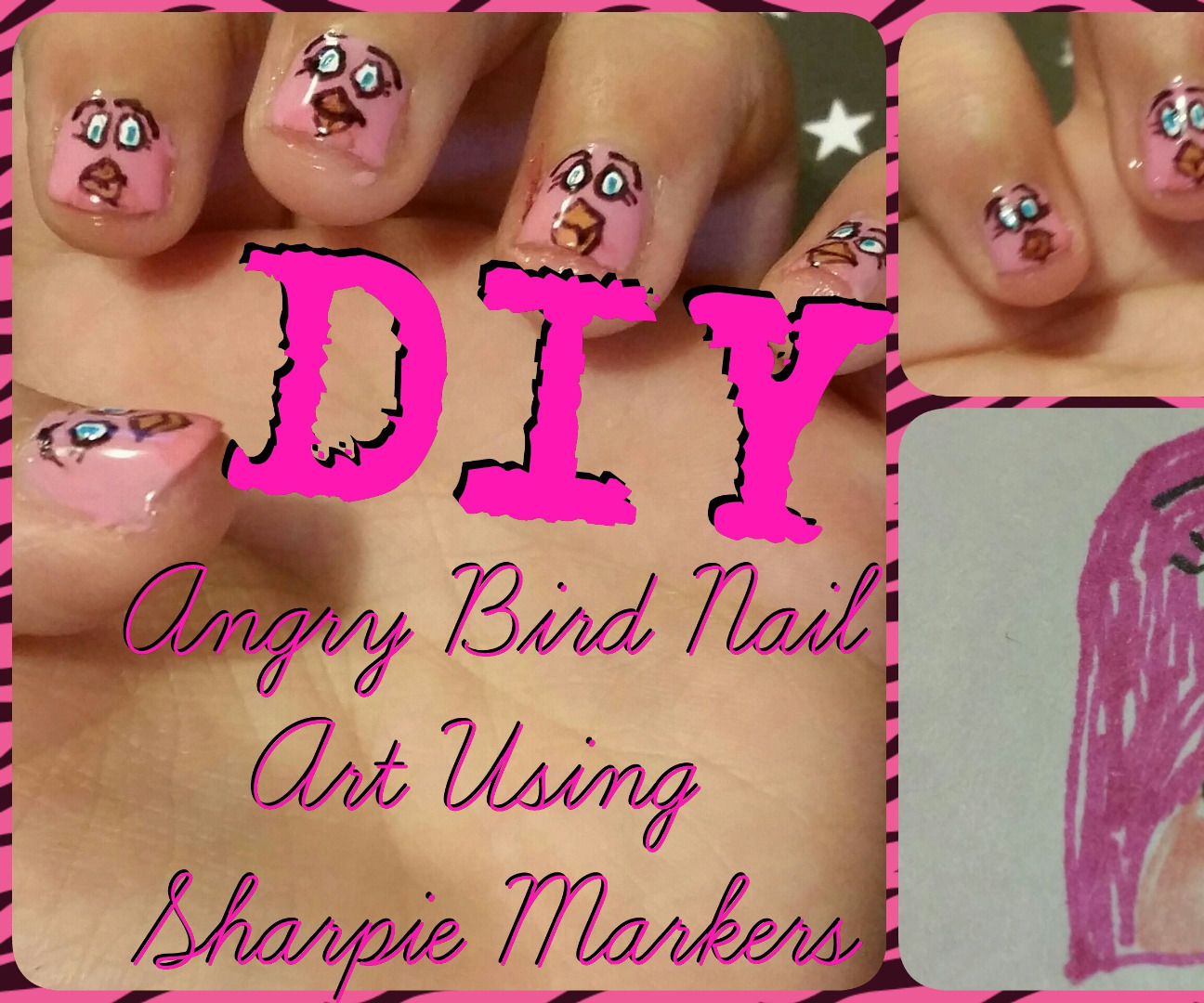 DIY Angry Bird Nail Art With Sharpie Markers