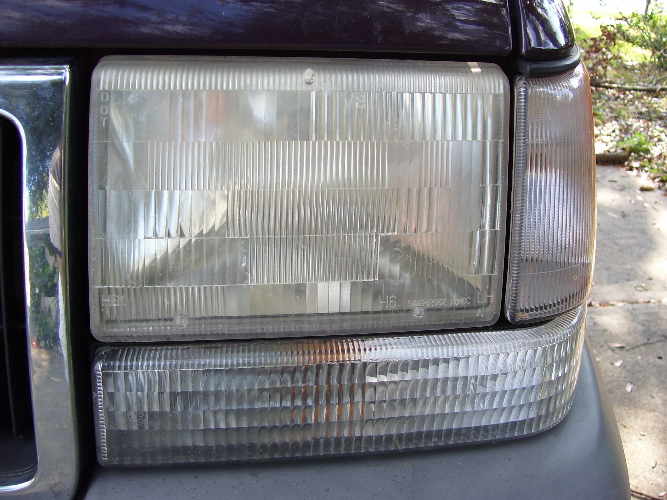 Polishing the wife's headlights