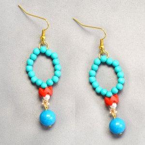 Finish the Blue Turquoise Beaded Hoop Earrings