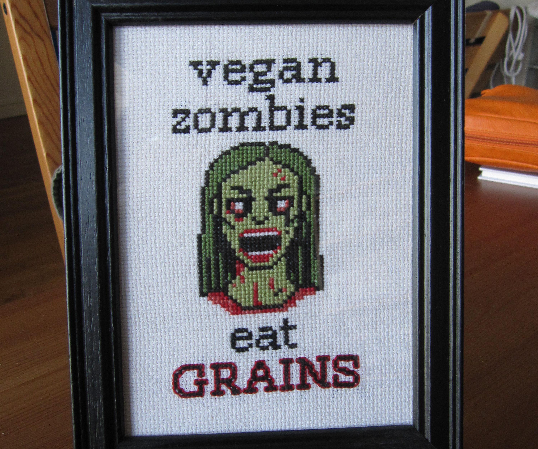 Vegan zombie cross stitch + pattern
