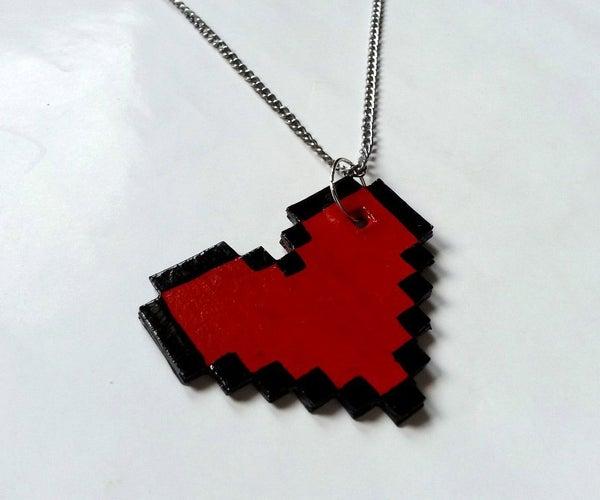 DIY Pixelated Heart Pendant