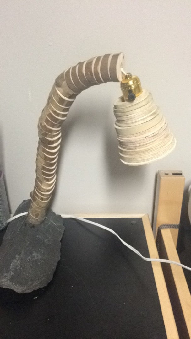 Wood and Stone Desk Lamp